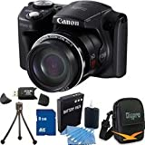 Canon PowerShot SX500 IS 16.0 MP Digital Camera with 30x Wide-Angle Optical Image Stabilized Zoom and 3.0-Inch LCD (Black) Premiere Bundle With 16GB Secure Digital High Capacity (SDHC) Memory Card, Digpro Compact Camera Deluxe Carrying Case