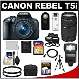 Canon EOS Rebel T5i Digital SLR Camera & EF-S 18-55mm IS STM Lens with EF 75-300mm III Lens + 32GB Card + Battery + Case + Flash + Tele/Wide Lenses + Tripod Kit