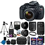 Canon EOS Rebel T5 18MP EF-S Digital SLR Camera USA warranty with canon EF-S 18-55mm f/3.5-5.6 IS [Image Stabilizer] II Zoom Lens & EF 75-300mm f/4-5.6 III Telephoto Zoom Lens + 58mm 2x Professional Lens +High Definition 58mm Wide Angle Lens + Auto Power Flash + UV Filter Kit with 24GB Complete Deluxe Accessory Bundle