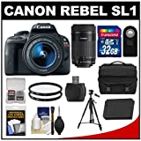 Canon EOS Rebel SL1 Digital SLR Camera & EF-S 18-55mm IS STM Lens with EF-S 55-250mm IS Lens + 32GB Card + Battery + Case + Filter + Tripod Kit