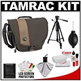 Tamrac 3446 Rally 6 Digital SLR Camera Case (Brown/Tan) with Deluxe Photo/Video Tripod + Canon Cleaning Kit for Canon EOS 7D, 5D Mark II III, 60D, Rebel T3, T3i, T2i Digital SLR Cameras