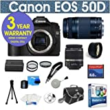 "Canon EOS 50D 15.1 MP Digital SLR Camera with Canon EF-S 18-55mm f/3.5-5.6 IS SLR Lens + Canon EF 75-300mm f/4-5.6 III Telephoto Zoom Lens + 2x Telephoto Lens + 8 Gig Memory Card + Camera Bag + 50"" Tripod with Case + Shoulder Strap + Screen Protectors + 5 Pc Maintence Kit + Corel MediaOne Editing Software + 2 UV Filters + 1 CPL Filter + 3 Year Celltime Warranty Repair Package"