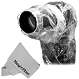 "(2 Pack) Raincover Camera Protector for Nikon, Canon, Sony, Olympus DSLRs with Lenses up to 7"" Diameter, 18"" Long + MagicFiber Microfiber Lens Cleaning Cloth"
