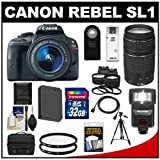 Canon EOS Rebel SL1 Digital SLR Camera & EF-S 18-55mm IS STM Lens with EF 75-300mm III Lens + 32GB Card + Battery + Case + Flash + 2 Lenses + Tripod Kit