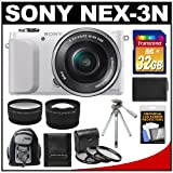 Sony Alpha NEX-3N Digital Camera with 16-50mm Lens (White) with 32GB Card + Backpack + Battery + Tripod + Tele/Wide Lenses + 3 UV/CPL/ND8 Filters Kit