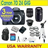 Canon EOS 7D Digital Camera + 24GB Memory + 7 Lens Deluxe Camera Kit