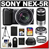 Sony Alpha NEX-5R Digital Camera Body & E 18-55mm OSS Lens (Black) with 55-210mm & 16mm f/2.8 Lens + 32GB Card + Battery + Filters + Case + Tripod Kit