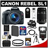 Canon EOS Rebel SL1 Digital SLR Camera & EF-S 18-55mm IS STM with 55-250mm IS Lens + 32GB Card + Battery + Case + Flash + Tele/Wide Lenses Kit