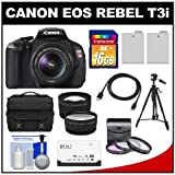 Canon EOS Rebel T3i Digital SLR Camera Body & EF-S 18-55mm IS II Lens + 16GB SDHC Card + Case + Tripod + 2 Batteries + Filters + HDMI Cable + Tele/Wide Lens Kit
