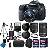 Canon EOS 70D 20.2 MP Digital SLR Camera with Dual Pixel CMOS AF Full HD 1080p Video with Movie and EF-S 18-55mm F3.5-5.6 IS STM with Canon EF-S 55-250mm STM f/4-5.6 IS Image Stabilizer Telephoto Zoom Lens + 58mm 2x Professional Lens + High Definition 58mm Wide Angle Lens + Auto Flash + Uv Filter Kit withwith 24GB Complete Deluxe Accessory Bundle