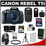 Canon EOS Rebel T5i Digital SLR Camera & EF-S 18-135mm IS STM Lens with EF 75-300mm III Lens + 64GB Card + Battery + Backpack + 3 UV/CPL/ND8 Filters Kit