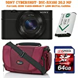 Sony CyberShot DSC-RX100 20.2 MP F1.8 Carl Zeiss Vario-Snnar T* Lens + Battery + 64GB + Lowepro Bag
