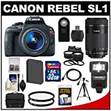Canon EOS Rebel SL1 Digital SLR Camera & EF-S 18-55mm IS with 55-250mm IS STM Lens + 32GB Card + Battery + Case + Flash + Tele/Wide Lenses Kit