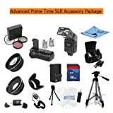 Advanced Prime Time Acessory Package for the Canon T1i (A.k.a 500d), Xs (A.k.a 1000d), Xsi (A.k.a 450d) Digital Slr Cameras Kit Includes 16gb High Speed Memory Card, Battery Pack Grip / Vertical Shutter Release, 2 Extended Life Batteries, Rapid Ac/dc Charger, Dedicated TTL Flash, Wide Angle Lens, 2x Telephoto Lens, Filter Kit, Flower Lens Hood, Deluxe Carrying Case + More All Lenses Will Attach to Any of the Following Canon Lenses 18-55mm, 75-300mm, 50mm 1.4 , 55-200mm.