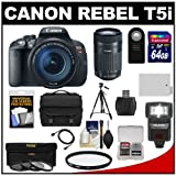 Canon EOS Rebel T5i Digital SLR Camera & EF-S 18-135mm & EF-S 55-250mm IS STM Lens + 64GB Card + Battery + Case + Flash + 3 UV/CPL/ND8 Filters Kit