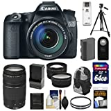 Canon EOS 70D Digital SLR Camera & EF-S 18-135mm IS STM Lens with 75-300mm Lens + 64GB Card + Battery & Charger + Backpack + Tripod + Tele/Wide Lenses + Kit