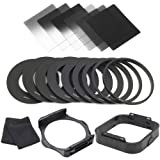 XCSource 18in1 6CPS Full & Graduated Filters ( ND2 ND4 ND8 Filter + Graduated G.ND2 G.ND4 G.ND8 Filters )+ 9pcs Adapter Ring (49mm,52mm,55mm,58mm,62mm,67mm,72mm,77mm,82mm)+1 PCS Lens Hood + 1 PCS Filer Holder +2 PCS Cleaning Cloth for Cokin P LF143