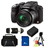 Panasonic Lumix DMC-FZ60K 16.1 MP Digital Camera with 24x Optical Zoom - Black. Includes: 8GB Memory Card, High Speed Memory Card Reader, Extended Life Replacememnt Battery, Table Top Tripod, LCD Screen Protectors, Cleaning Kit & Carrying Case
