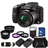 Panasonic Lumix DMC-FZ60K 16.1 MP Digital Camera with 24x Optical Zoom - Black. Includes: 0.45X Wide Angle Lens, 2X Telephoto Lens, 3 Piece Filter Kit (UV-CPL-FLD), 16GB Memory Card & More