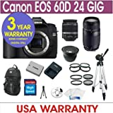 Canon EOS 60D Digital Camera + 24GB Memory + 7 Lens Deluxe Camera Kit