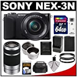 Sony Alpha NEX-3N Digital Camera & 16-50mm Lens (Black) with 55-210mm Lens + 64GB Card + Case + Battery + Tele/Wide Lenses + Filters Kit