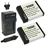 Wasabi Power Battery (2-Pack) and Charger for GoPro HERO2, HERO and GoPro AHDBT-001, AHDBT-002
