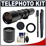 Phoenix 500mm Telephoto Lens with 2x Teleconverter (=1000mm) + 67-Inch Monopod Kit for Canon EOS 60D, 7D, 5D Mark II III, Rebel T3, T3i, T4i Digital SLR Cameras