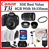 Canon EOS Rebel T3i Digital SLR Camera with 18-135mm Lens + SSE Best Value Lens Accessory Package