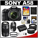 Sony Alpha SLT-A58 Translucent Mirror Technology Digital SLR Camera Body & 18-55mm Lens with 75-300mm Lens + 32GB Card + Sling Case + Battery + Filters + Tele/Wide Lens Kit