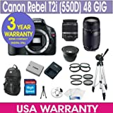 Canon Rebel T2i Digital Camera + 48GB Memory + 7 Lens Deluxe Camera Kit