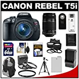 Canon EOS Rebel T5i Digital SLR Camera & EF-S 18-55mm IS with EF-S 55-250mm IS STM Lens + 64GB Card + Battery + Backpack + Tele/Wide Lenses Kit