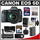 Canon EOS 6D Digital SLR Camera Body with EF 24-105mm L IS USM Lens with 64GB Card + Battery & Charger + Battery Grip + 3 UV/ND8/CPL Filters + Remote Kit