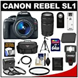 Canon EOS Rebel SL1 Digital SLR Camera & EF-S 18-55mm IS STM Lens with EF 75-300mm III Lens + 64GB Card + Battery + Case + Flash + 3 UV/CPL/ND8 Filters Kit