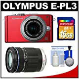 Olympus PEN E-PL3 Micro 4/3 Digital Camera & 14-42mm II Lens (Red/Silver) with M.Zuiko 40-150mm Lens + 16GB Card + Cleaning Kit (Refurbished by Olympus)