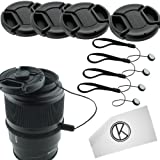 Lens Cap Bundle - 4 Snap-on Lens Caps for DSLR Cameras including Nikon, Canon, Sony - Lens Cap Keepers and CamKix Microfiber Cleaning Cloth included (58mm)
