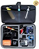 Large Gopro Case for Hero 3 3+ Camera Highest Quallity EVA Shockproof Go pro HD Hero3+ Cameras Bag Black Premium Edition + With Enough Space for Float Helmet Wrist Pole Remote Control Lens Battery LCD Screen SD Card Accessories + HIKPRO 5 Year Warranty