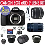Canon EOS 60D Digital SLR Camera 9 Lens Camera Kit