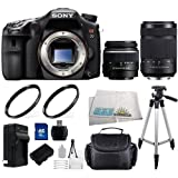 Sony SLT-A77 24.3 MP Digital SLR with Translucent Mirror Technology. Includes Sony 18-55mm f/3.5-5.6 DT Standard Zoom & 55-300mm f/4.5-5.6 DT Alpha A-Mount Telephoto Zoom Lenses. 2 UV Filters, 16GB Memory Card, Tripod & More