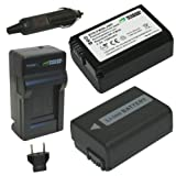 Wasabi Power Battery (2-Pack) and Charger for Sony NP-FW50 and Sony Alpha 7, a7, Alpha 7R, a7R, Alpha a3000, Alpha a5000, Alpha a6000, NEX-3, NEX-3N, NEX-5, NEX-5N, NEX-5R, NEX-5T, NEX-6, NEX-7, NEX-C3, NEX-F3, SLT-A33, SLT-A35, SLT-A37, SLT-A55V, Cyber-shot DSC-RX10
