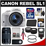 Canon EOS Rebel SL1 Digital SLR Camera & EF-S 18-55mm IS STM Lens (White) with 75-300mm III Lens + 32GB Card + Case + Flash + Battery + Tripod + 2 Tele/Wide Lenses