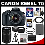 Canon EOS Rebel T5 Digital SLR Camera Body & EF-S 18-55mm IS II with 55-250mm IS Lens + 32GB Card + Case + Battery + Tripod + Tele/Wide Lens Kit