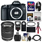 Canon EOS 70D Digital SLR Camera Body with 18-200mm IS Lens + 64GB Card + Backpack + Flash + Battery + Flex Tripod + Kit