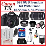 Canon EOS Rebel T3i SLR Digital Camera Kit with Canon 18-55mm Lens + Canon EF-S 55-250mm IS Autofocus Lens + Premium SLR Camera Lens Package
