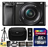 "Sony Alpha a6000 24.3 MP Interchangeable Mirrorless Lens Camera with 16-50mm Power Zoom Lens (ILCE6000L/B) with Beginner Accessories Bundle Kit includes 16GB Class 10 SDHC Memory Card + x2 Replacement (1200mAh) NP-FW50 Battery + Home Wall Charger with Car and European Adapter + Professional 60"" Inch Photo/Video Tripod + Ultra Violet UV High Definition Filter + Hard Shell Carrying Case + Wireless Shutter Release Remote + Camera Lens Cleaning Kit + Bonus $50 Gift Card for Digital Prints"