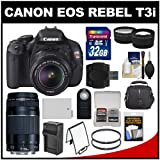 Canon EOS Rebel T3i Digital SLR Camera Body & EF-S 18-55mm IS II & 75-30mm III Lens with 32GB Card + Case + Battery & Charger + Tele/Wide Lens Kit
