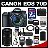 Canon EOS 70D Digital SLR Camera & EF-S 18-135mm IS with 55-250mm IS STM Lens + 32GB Card + Case + Flash + Battery + Grip + Tripod Kit