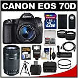 Canon EOS 70D Digital SLR Camera & EF-S 18-55mm IS with 55-250mm IS STM Lens + 32GB Card + Case + Flash + Battery + Grip + Tripod Kit