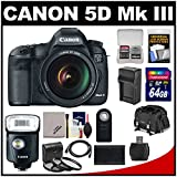 Canon EOS 5D Mark III Digital SLR Camera with EF 24-105mm L IS USM Lens with 320EX Flash/LED Video Light + 64GB Card + Case + Battery & Charger Kit