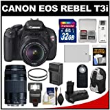 Canon EOS Rebel T3i Digital SLR Camera & 18-55mm IS II Lens with 75-300mm III Lens + 32GB Card + Backpack + LED Flash + Grip + Battery Kit